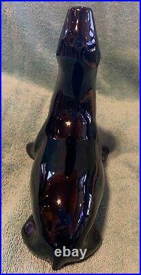 CAMARK Vintage Ceramic Black Fishbowl Seal withoriginal LARGE 6pegged bowl-RARE