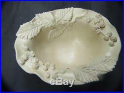 Castle Harris Australian Pottery Footed Bowl w Applied Leaves & Berries Vintage