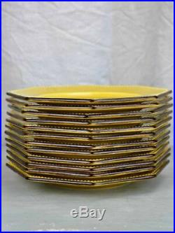 Collection of 12 vintage Dieulefit plates and 1 large salad bowl