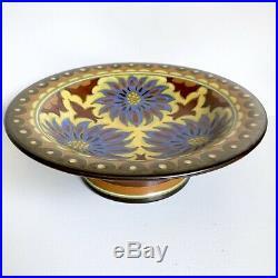 Compote Bowl Pedestal Art Nouveau 11 Vtg Gouda Plazuid Holland Pottery