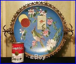 DRAGON parrot montereau antique french porcelain bronze bowl cloisonné vtg plate