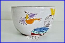 Desimone Large Vtg Mid Century Italian Art Pottery Queen Bird Serving Salad Bowl