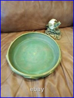 Early 1900's WELLER Muskota Art Pottery Flower Frog & Bowl, Nice Vintage