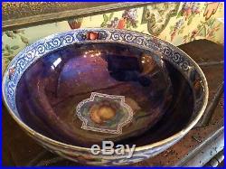 English Blue Luster Bowl Fruit Design Vintage Lovely