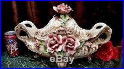 FAB Vintage HUGE 17+L CAPODIMONTE Covered Footed Bowl Tureen HM ROSES+ ITALY