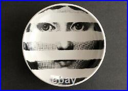 FORNASETTI vintage SIGNED Porcelain Trinket Bowl with Striped Face