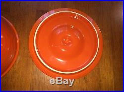 Fiesta Pottery Vintage Red Mixing Bowl w Bottom Rings & Lid no. 4