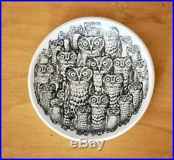Fornasetti Vtg Mid Century Modern Italian Ceramic Owl Face Bowl Dish Plate Italy