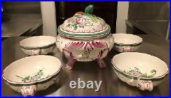 French Hand Painted Faience China Soup Tureen With LID & Soup Bowls Set Vtg