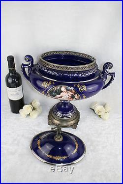 French VTG XL porcelain Centerpiece bowl cobalt blue gout de sevres 1950's