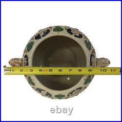 Gerz 5 Liter German Castle Motif Punch Cider Bowl Tureen with Six Mugs Vintage