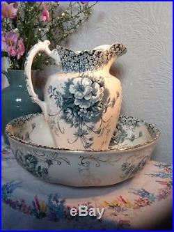 Gorgeous Vintage Large Victorian Jug and Bowl Wash Stand Set- Sandon #3948