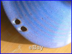 Great Vintage Studio Art pottery Bowl Signed Easton Foster Blue Ribbed