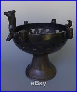 HUGE vintage Mexican black pedestal bowl attrib to Heron Martinez 16 1/4 tall