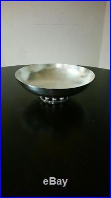 Handmade Vintage EMILIA CASTILLO Hammered Round SILVER Bowl