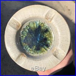 Harding Black Ashtray Bowl Ash Tray Vintage Pottery 6.5 X 1.5 Mid Century