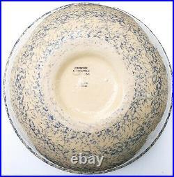 Huge 16 Vintage Robinson Ransbottom Mixing Bowl Blue Spongeware Ohio Unused