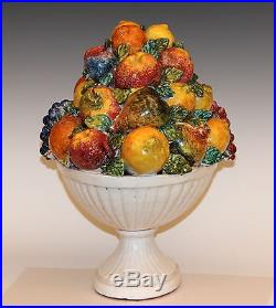 Huge Large Vintage Italian Majolica Pottery Fruit Bowl Table Centerpiece Basket