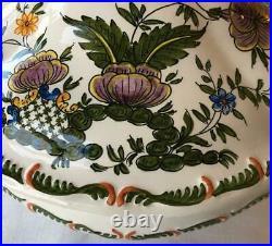 Italian Hand Painted Tureen Serving Bowl Lemon Finial Large Stunning! Vintage