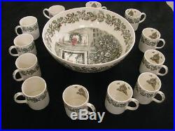 JOHNSON BROTHERS Vintage China Merry Christmas Punch Bowl + 12 Cups Made England