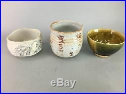 Japanese Tea Ceremony Set Chabako Bowl Fan Wooden Box Vtg Pottery PX313