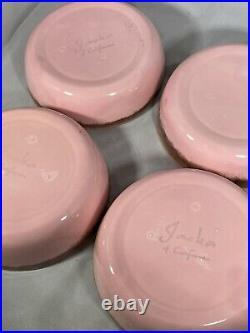 Jaska of California Cascade Ware Dishes Vintage Pink & Brown Drip Trim Set RARE