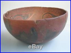 Large Antique Vintage Pueblo Indian Pottery Bowl Pot Fabulous Graphics Nr
