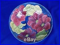 Large 10.5 Vintage Moorcroft Pedestal Bowl Clematis Pattern Royal Warrant Label