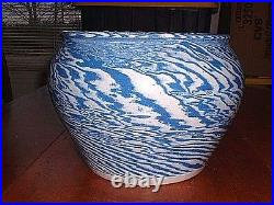 Large 12 Vintage Swirl Catawba Valley Southern Pottery Jardeniere Signed Laugp