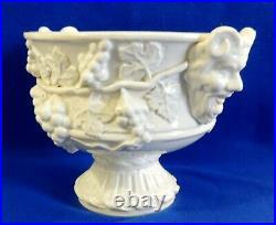 Large Antique/Vtg DEVIL White Majolica Pottery SPAIN Compote Footed Serving Bowl
