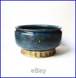 Large Bitossi Pottery Blue China Decor Centerpiece Bowl, 1950s Italy Vintage HTF