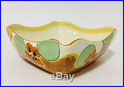 Large Clarice Cliff Bizarre Bowl Cafe Au Lait Nasturtium Vintage Art Deco