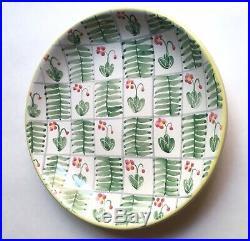 Large Upsala Ekeby Floral Pottery Centerpiece Bowl, 1950s Sweden MCM Vintage
