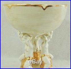 Large Vintage 15 Jamar Mallory 1963 Gold Cherub Putti Compote Centerpiece Bowl