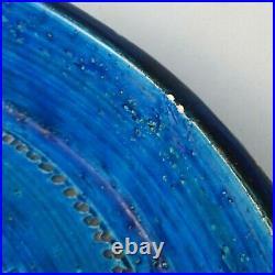 Large Vintage Bitossi Shallow Bowl 28cm Rimini Blue Aldo Londi Mid Century