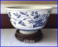Large Vintage Delfts Williamsburg Restoration Porcelain Punch Bowl, Holland