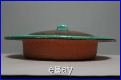 Large Vintage Eugene White 1940s California Pottery Copper Lidded Serving Bowl