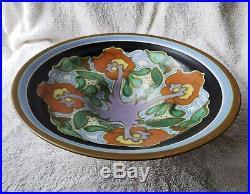 Large Vintage Gouda Pottery Anemoon Goedewaagen Holland Art Nouveau Plateel