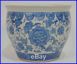 Large Vintage Hand Painted Chinese Blue White Planter Fish Bowl
