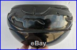 Large Vintage MIDA TAFOYA Santa Clara Pueblo Black on Black Avanyu Pottery Bowl