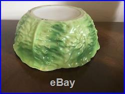 Large Vintage Porcelain Green Cabbage Lettuce Leaf Salad Serving Vegetable Bowl