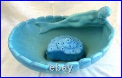 Large Vintage Van Briggle Pottery Mermaid'Siren of the Sea' Bowl & Flower Frog