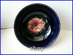 Large Vintage Walter Moorcroft Footed Bowl in Blue Glaze with Anemone Pattern