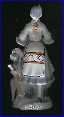 Large Vintage Women Bowl & Lamb Figurine Statue Porcelain Made In Poland Rare