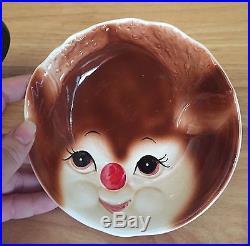 Lefton Rudolph Reindeer Ceramic Cup And Bowl Child Set Vintage RARE Christmas