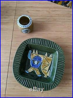 Lisa Larson Harlekin Plate + Thalia Vase/Bowl Gustavsberg Vintage 1960s 2pcs