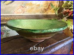 Lovely Vintage French Pottery Light Green Bowl Provence Farmhouse French Country