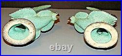 MCM Vintage CALIFORNIA ORIGINALS Pottery Turquoise Gold Console Set Bowl+2 Birds