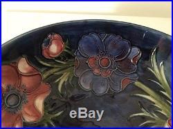 MOORCROFT Pottery 8 1/2 Bowl Anenome/Poppy Cobalt Blue-Vintage. 736