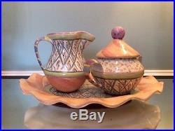 Mackenzie-Childs Vintage Bearded Iris Platter with Creamer & Sugar Bowl